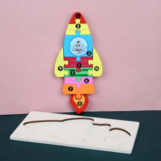 Puzzle incastru 3D Racheta colorata Jucarie cu cifre din lemn