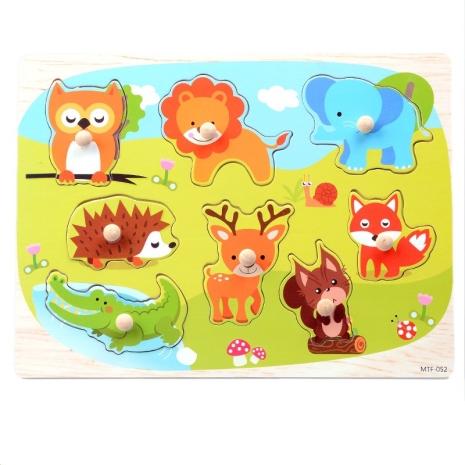 Puzzle incastru copii 052 Animale cu maner din lemn