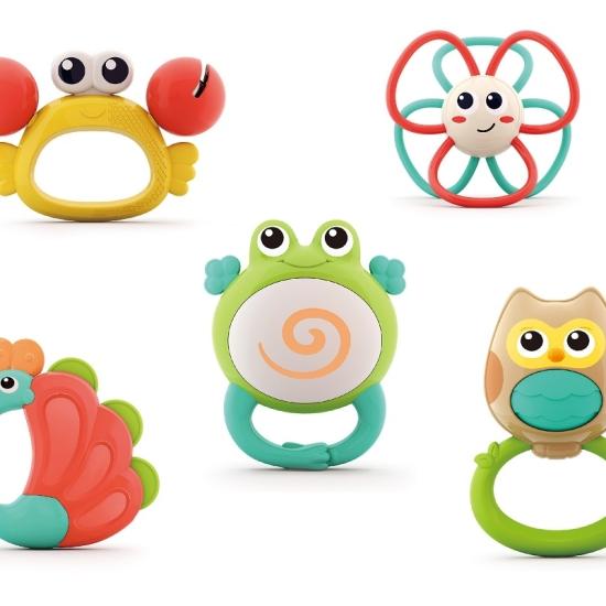 Set 5 jucarii dentitie bebe Orchestra animalutelor in cutie