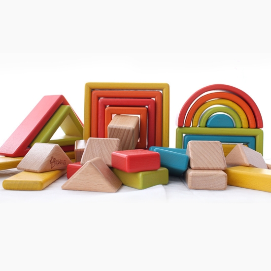 Set cuburi constructii Curcubeu Jucarii Montessori Rainbow